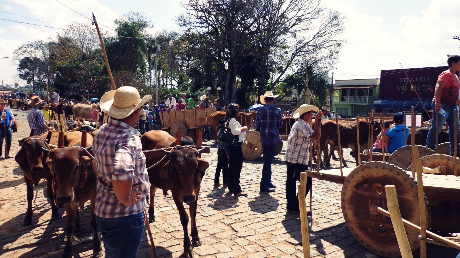 Ruas de Nazareno são tomadas por carreiros e tradição mineira