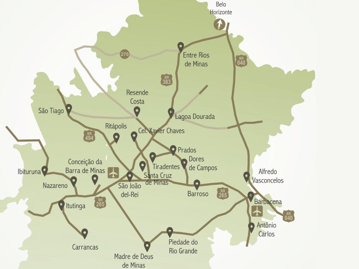 Mapa apresenta as cidades da Trilha dos Inconfidentes. ARTE/VAN: Laila Zin